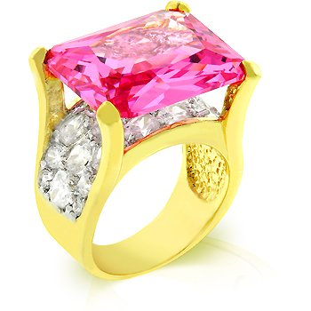 Fashion ring with pink and clear cubic zirconia in goldtone, size 8