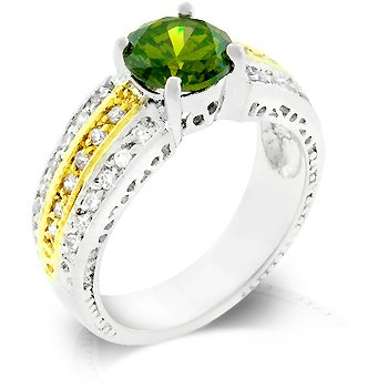 Fashion ring with green, olive shade and clear cubic zirconia, size 8
