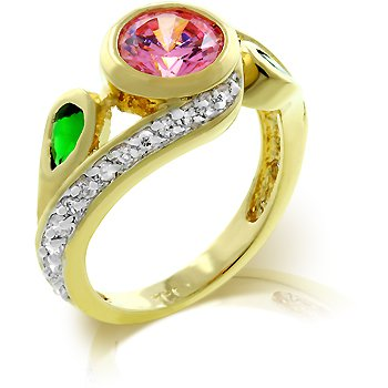 Fashion ring with green, pink and clear cubic zirconia, size 8