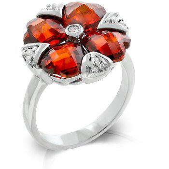 Cubic Zirconia Fashion Ring in ruby red, size 8