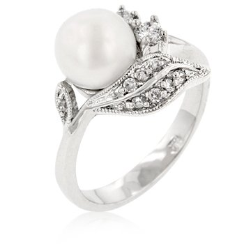 Cubic Zirconia Fashion Ring with shell pearl, size 8