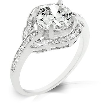 Fashion ring with clear cubic zirconia in silver tone, size 8