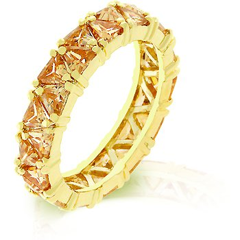 Fashion ring with pale champagne cubic zirconia, size 8