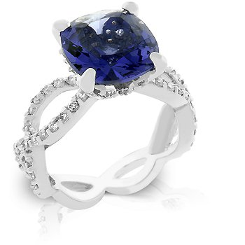 Fashion ring with purple & clear cubic zirconia in silver tone, size 8