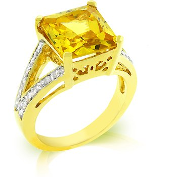 Fashion Ring in Yellow and Clear CZ in goldtone, size 8
