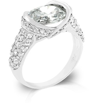 Fashion Ring with clear CZ in silvertone, size 8