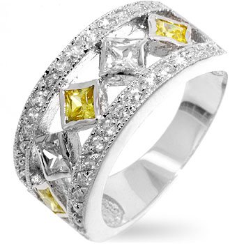 Fashion Ring with yellow & clear CZ in silvertone, size 8