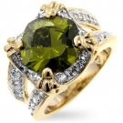 Fashion Ring with olive green & clear CZ in goldtone, size 8