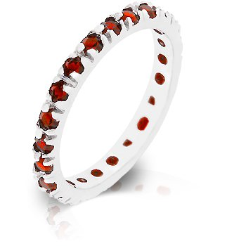 Fashion Ring with Red Cubic Zirconia in silvertone, size 8