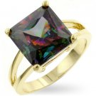 Fashion ring with mistique multi-colored Crystal in goldtone, size 8
