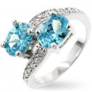 Fashion ring with aqua blue (PALE) & clear CZ in silvertone, size 8