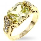 Fashion Ring with apple green & clear Cubic zirconia in goldtone, size 8