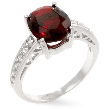 Cubic Zirconia Silver Ring in Red, size 8