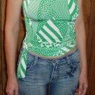 Veneccia Juniors strapless top in green & white, size Juniors Small, S