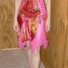Bicici Juniors 100% silk multi-colored dress in red, fuschia and other, size Large, L