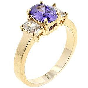 Fashion Ring with purple & clear Cubic Zirconia in goldtone, size 8