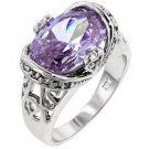 Fashion ring with Lavender and Clear Cubic Zirconia in silvertone, size 8