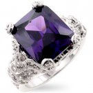 Fashion ring with Brilliant Purple Amethyst and Clear Cubic Zirconia in silvertone, size 8