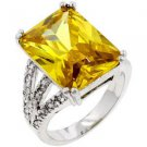 Fashion ring with Yellow and Clear Cubic Zirconia in silvertone, size 8