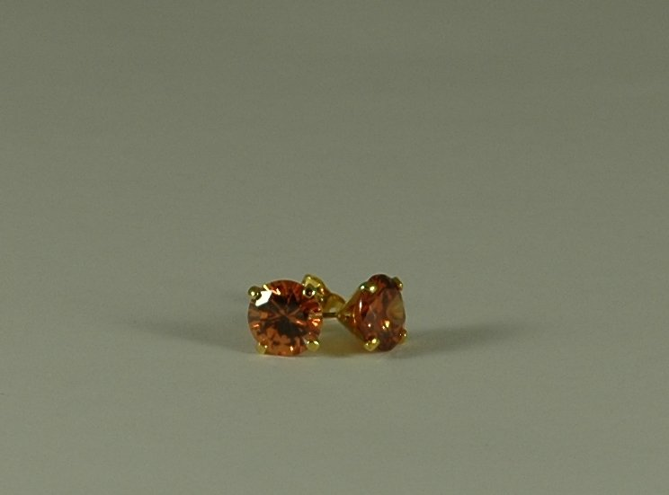 Champagne cubic zirconia stud earrings in gold tone