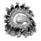 Feather fashion Ring with black & clear Cubic Zirconia in silvertone, size 7