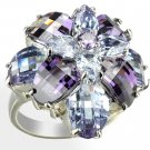 Huge gorgeous fashion ring with 2 shades of Purple Cubic Zirconia in silvertone, size 8