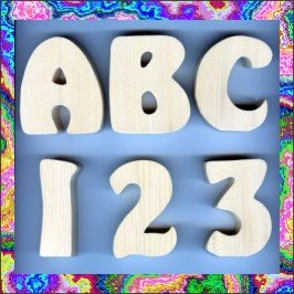 Delightful 4 Inch Wooden Letters Numbers Pine