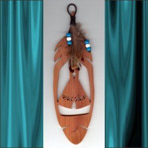 Indian Tepee Aromatic Cedar Feather Wall Hanging