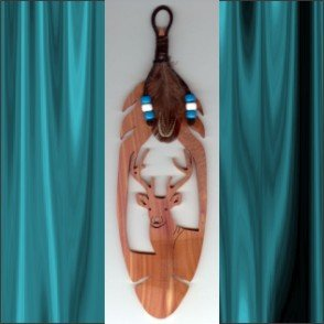 Buck Deer  Aromatic Cedar Feather Wall Hanging