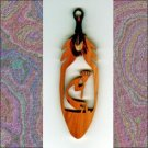 Small Kokopelli  Aromatic Cedar Feather Wall Hanging