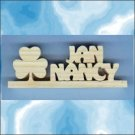 Personalized Desk Plaques - Any 2 Names with a Shamrock