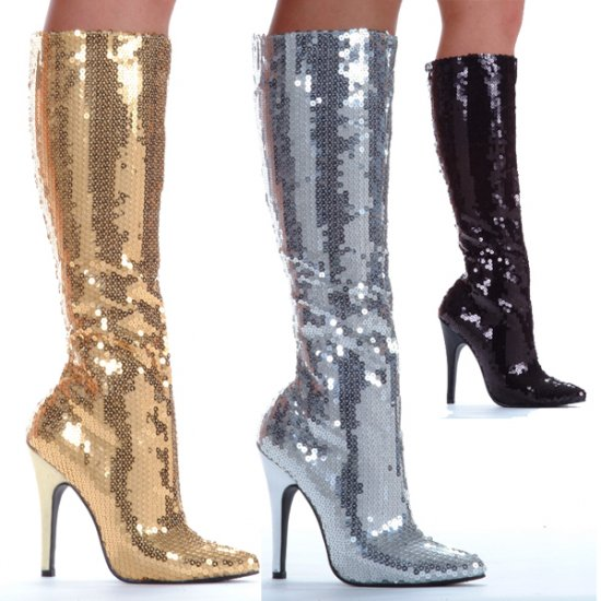 "511-TIN 5"" Heel Sequins Knee Boot by Ellie Shoes - Glitter Sequin Boots in Black, Silver, Gold"