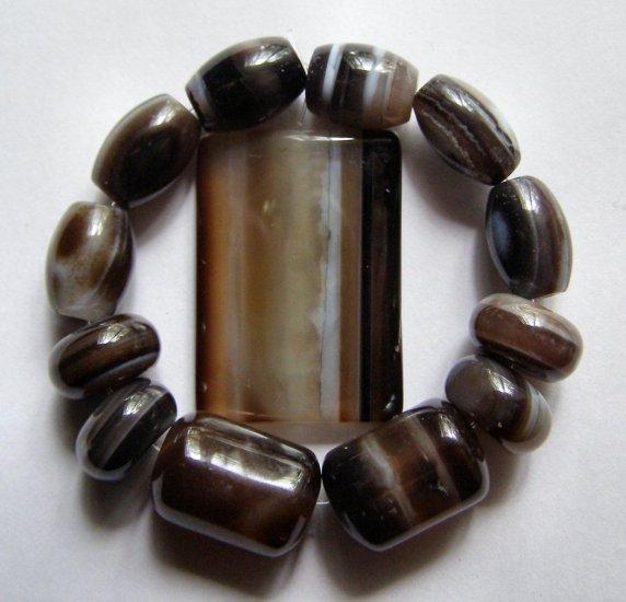 Sardonyx Agate 35x25 Rectangle Pendant Bead Set
