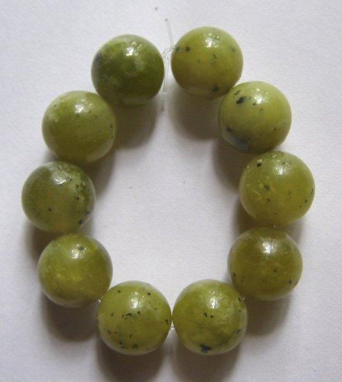 10 Olive Jade 11.5mm Round Beads
