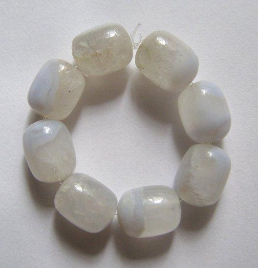 8 Blue Chalcedony 12x10 Barrel Beads