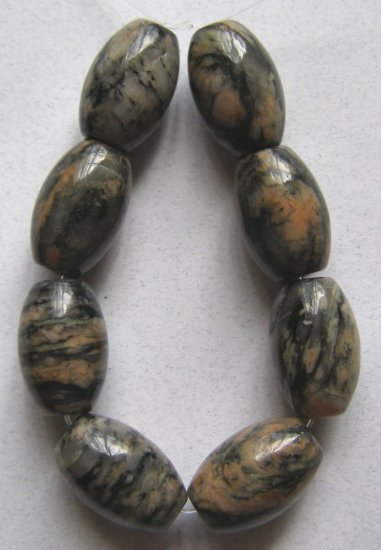 8 Pink/Black Zebra Jasper 18x12 Barrel Beads