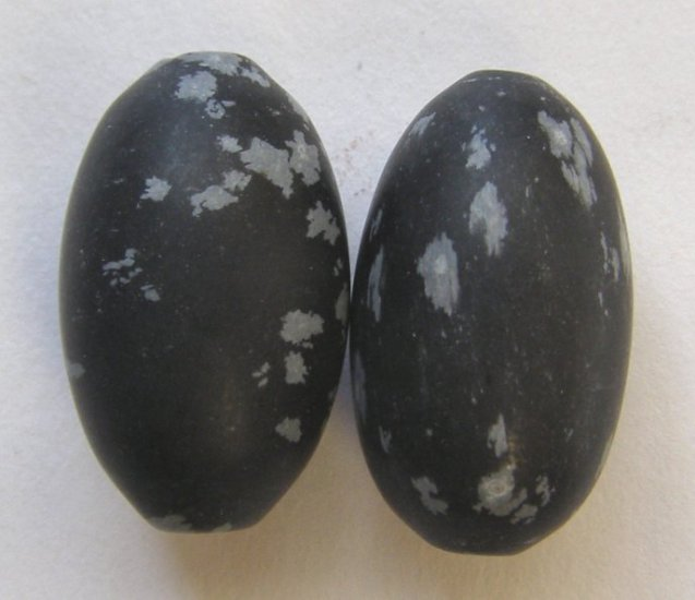 2 Snowflake Obsidian 23x14 Oval Beads
