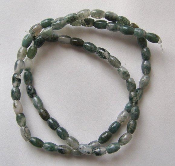 "MOSS AGATE 6x4 Barrel Beads 16"" strand"