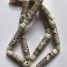"Ivory Colored Bone 35x7 Carved Tube Beads 15"" strand"