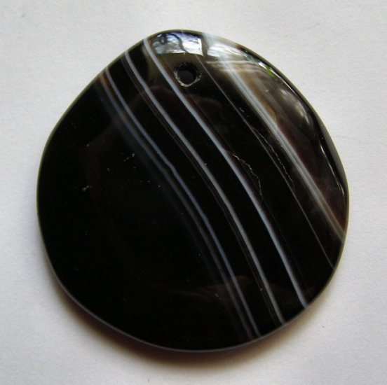 Banded Black Agate 41x39 Freeform Pendant Bead