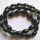 "Black Agate 12x8 Oval Beads 15.5"" Strand"