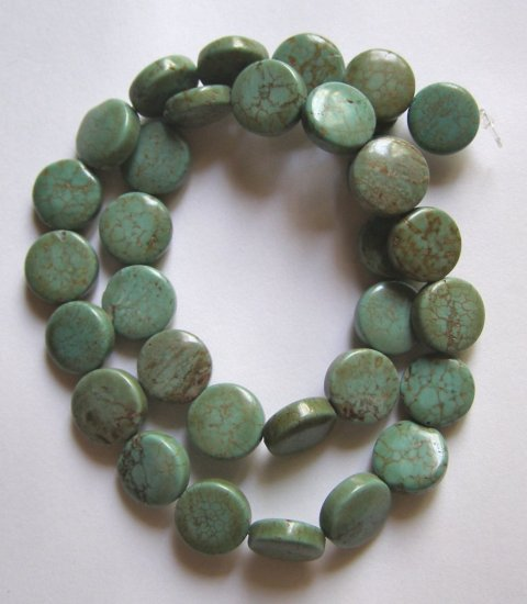 "Turquoise 12mm Coin Beads 16"" strand"