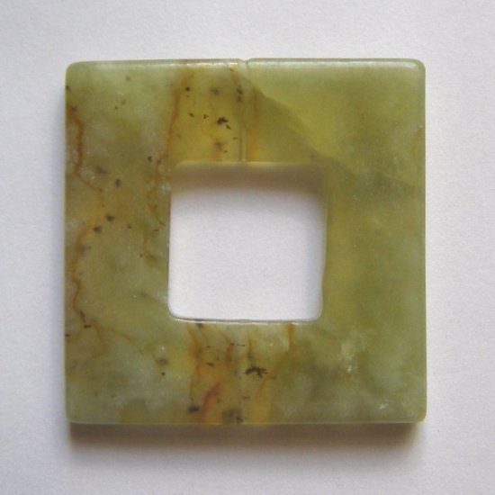 Flower Jade 39x39 Square Frame Pendant Bead