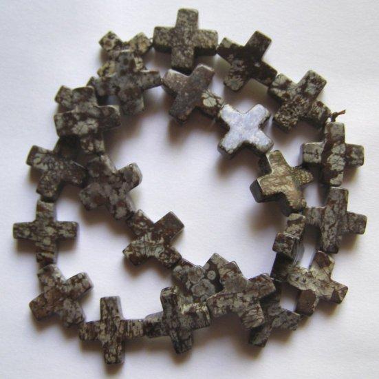 "Jasper 16x16 Cross Beads 15"" strand"