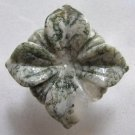 Moss Agate 36x36 Carved Flower Pendant Bead
