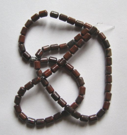 "Poppy Jasper 6x4 Drum Beads 15"" strand"