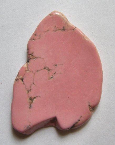 Pink Turquoise Magnesite 54x39 Slice Pendant Bead