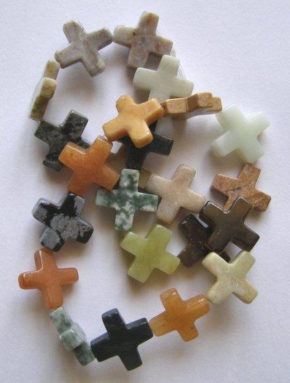 "Mixed Semi-precious Stones 16x16 Cross Beads 16"" strand"