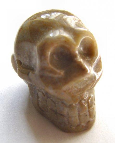 Ocean Jasper 29x23 Carved Skull Pendant Bead