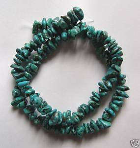 """Turquoise 4x9 Tiny Nugget Beads 16"""" strand"""